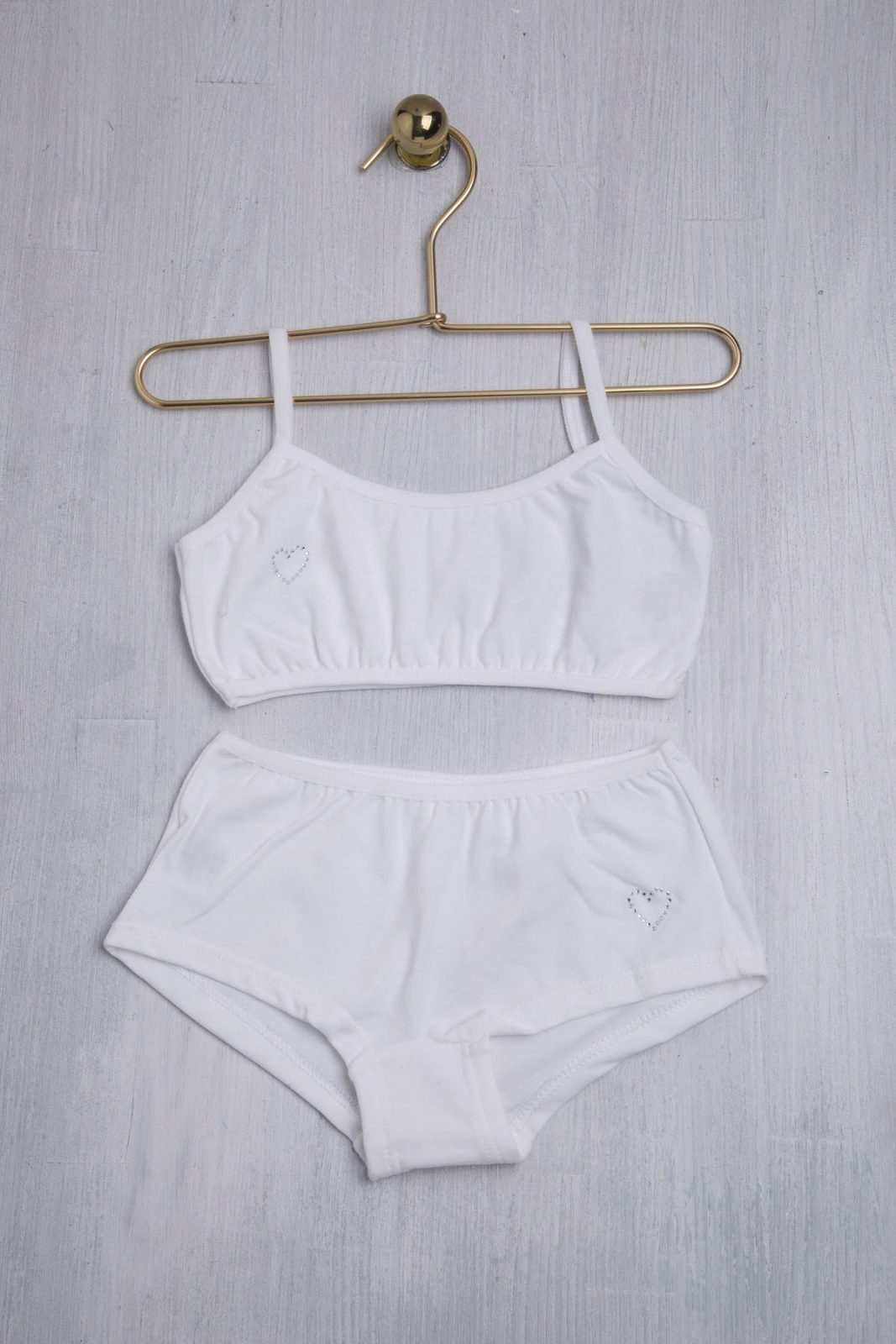 Παιδικά εσώρουχα σετ με μπουστάκι και μπόξερ σε λευκό χρώμα
