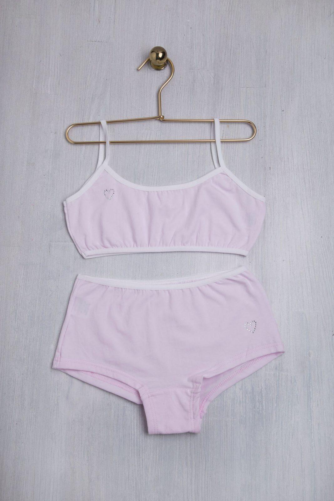 Σετ παιδικά εσώρουχα με μπουστάκι και μπόξερ σε ροζ χρώμα
