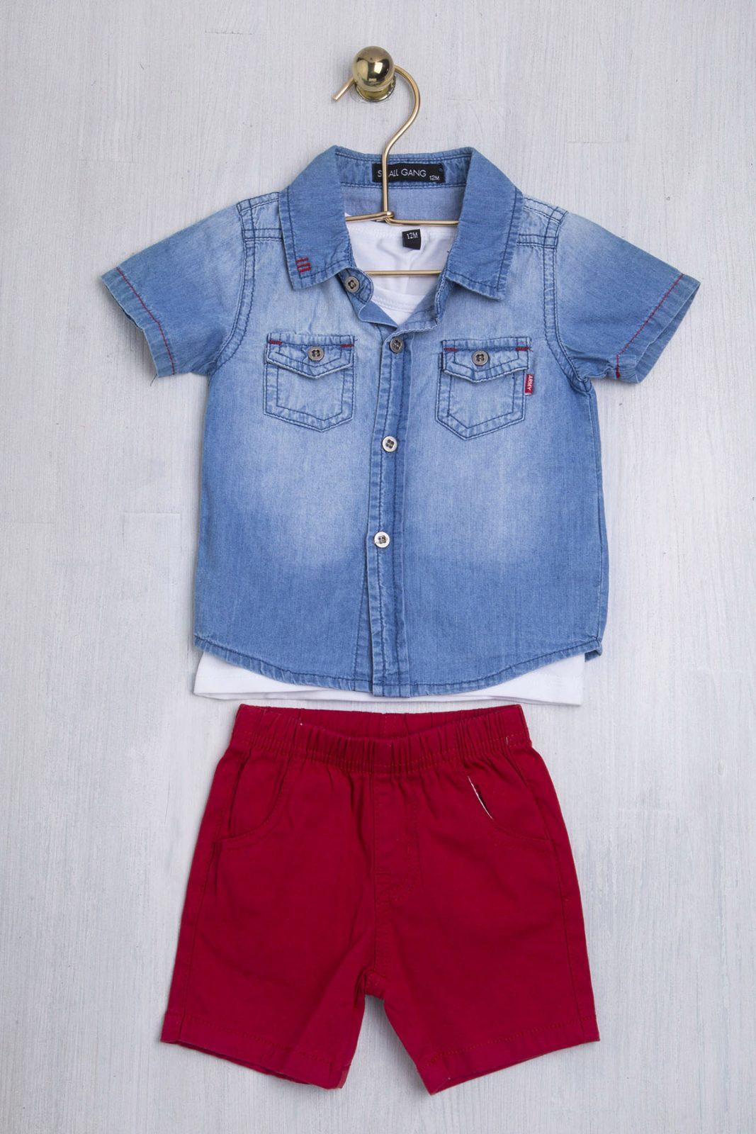 Σετ μπλούζα αμάνικη με πουκάμισο κοντομάνικο & σόρτς 1