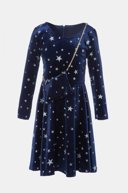 Σκούρο μπλε φόρεμα βελουτέ με λευκά αστέρια