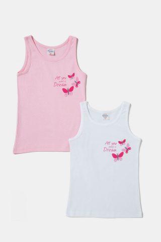Αμάνικες φανέλες για Κορίτσια σε ροζ και λευκό χρώμα