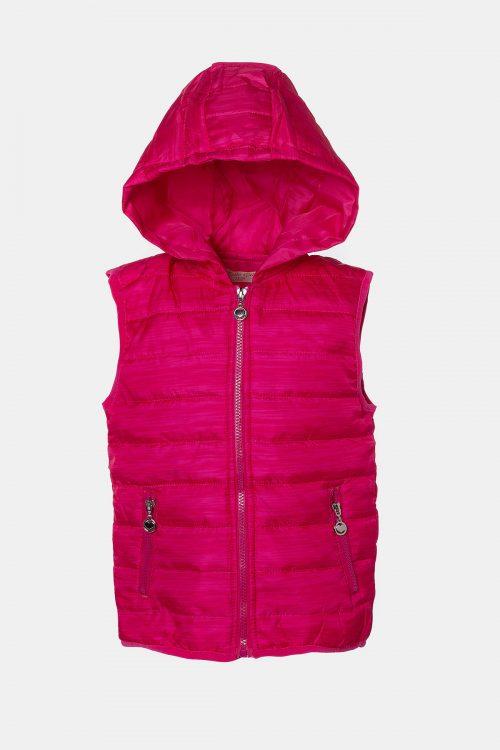 Αμάνικο μπουφάν φούξια με κουκούλα για Κορίτσια
