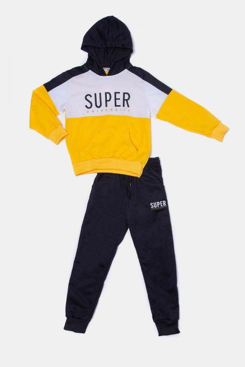 Κίτρινη παιδική φόρμα για αγόρια με τρίχρωμη μπλούζα