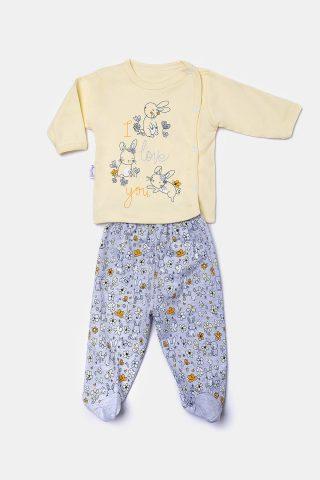 Κίτρινο βρεφικό σετ για Κορίτσια με λαγουδάκια και εμπριμέ παντελόνι