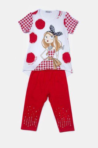 Κόκκινο παιδικό σετ για Κορίτσια με glitter