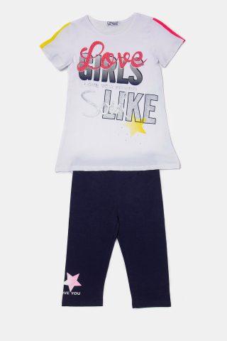 Λευκό παιδικό σετ για κορίτσια με στρας και παντελόνι κάπρι