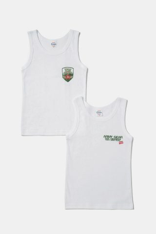 Παιδικά φανελάκια για αγόρια σε λευκό χρώμα