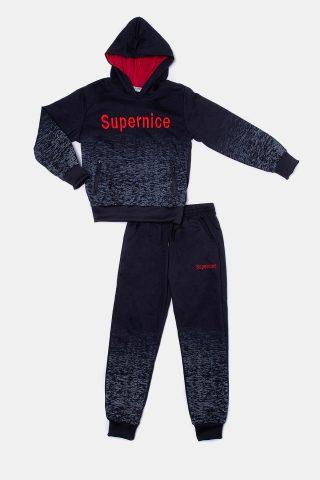 Παιδική φόρμα μαύρη με κέντημα Supernice