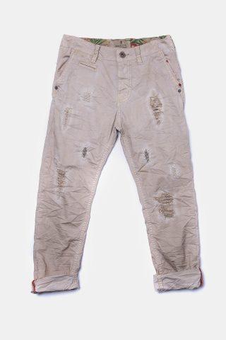 Παιδικό παντελόνι μπεζ τσαλακωτό με σκισίματα