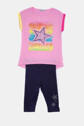 Παιδικό σετ αστέρι με ροζ μπλούζα και πολύχρωμο τύπωμα αστέρι
