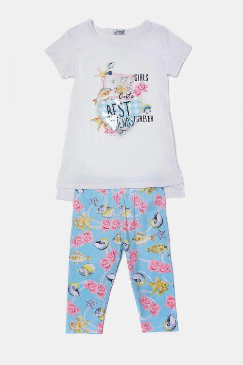 Παιδικό σετ εμπριμέ παντελόνι και μπλούζα με τύπωμα best friends