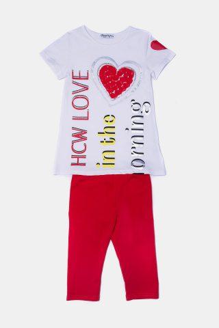 Παιδικό σετ καρδιά ανάγλυφη για Κορίτσια με μπλούζα & κάπρι