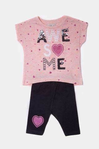 Παιδικό σετ καρδούλες για Κορίτσια με μπλε παντελόνι και ροζ μπλούζα