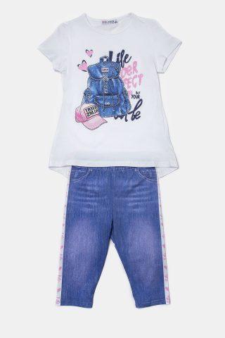 Παιδικό σετ τζιν με λευκή μπλούζα και τζιν παντελόνι
