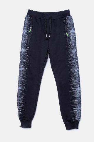Παντελόνι φούτερ μαύρο για Αγόρια με ρίγες στο πλάι