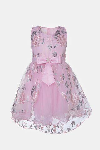 Ροζ παιδικό φόρεμα για κορίτσια με τούλι και φιόγκο