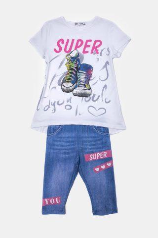 Σετ για Κορίτσια με τζην παντελόνι και λευκό μπλουζάκι με τύπωμα sneakers