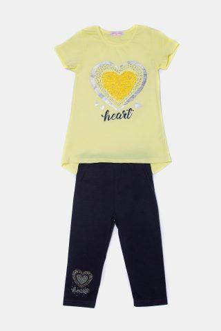 Σετ κίτρινη καρδιά με πέλρες & στρας. Μπλούζα μοτίφ με κάπρι.