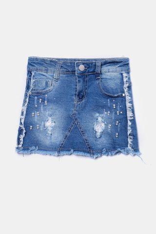 Τζιν φούστα μπλε για Κορίτσια με πέρλες και ξέφτια στο τελείωμα