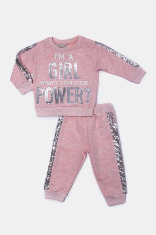 Βρεφική ροζ φόρμα για κορίτσια με τύπωμα girl power