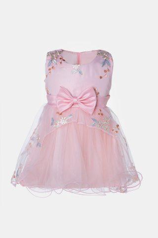 Βρεφικό φόρεμα με τούλι σε ροζ χρώμα με ροζ φιόγκο