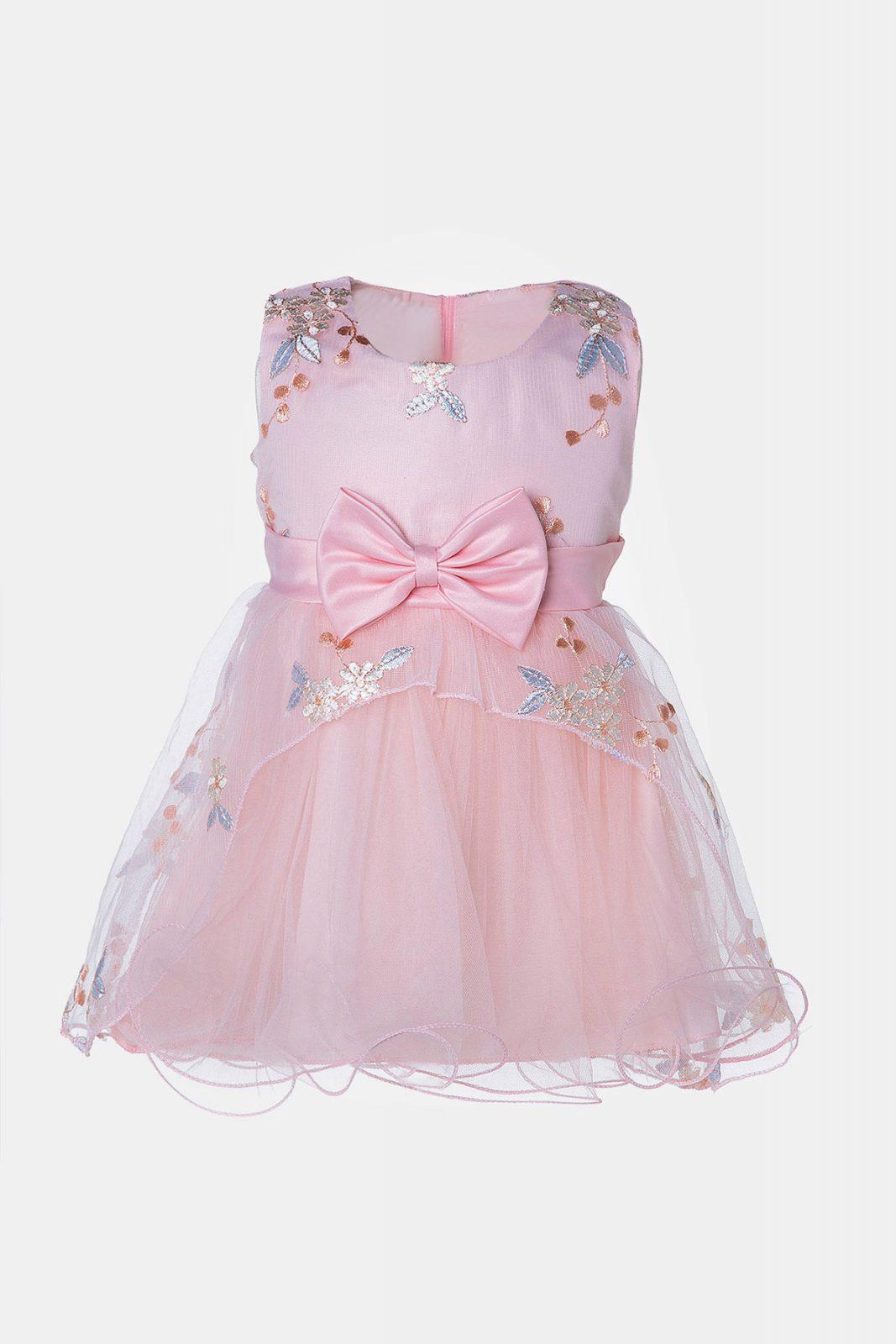6d3b74f6aee9 Βρεφικό φόρεμα με τούλι σε ροζ χρώμα με ροζ φιόγκο