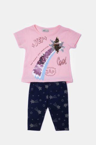Βρεφικό σετ μακό με αστέρια με κοντομάνικη μπλούζα και κολάν