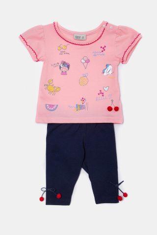 Βρεφικό σετ κερασάκια για κορίτσια με μπλε παντελόνι και ροζ μπλούζα