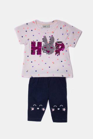 Βρεφικό σετ κουνελάκι για Κορίτσια με ροζ μπλουζάκι