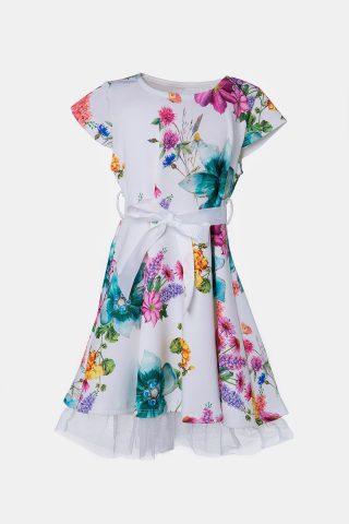 Φλοράλ φόρεμα για κορίτσια με πολύχρωμα λουλούδια και λευκή ζώνη