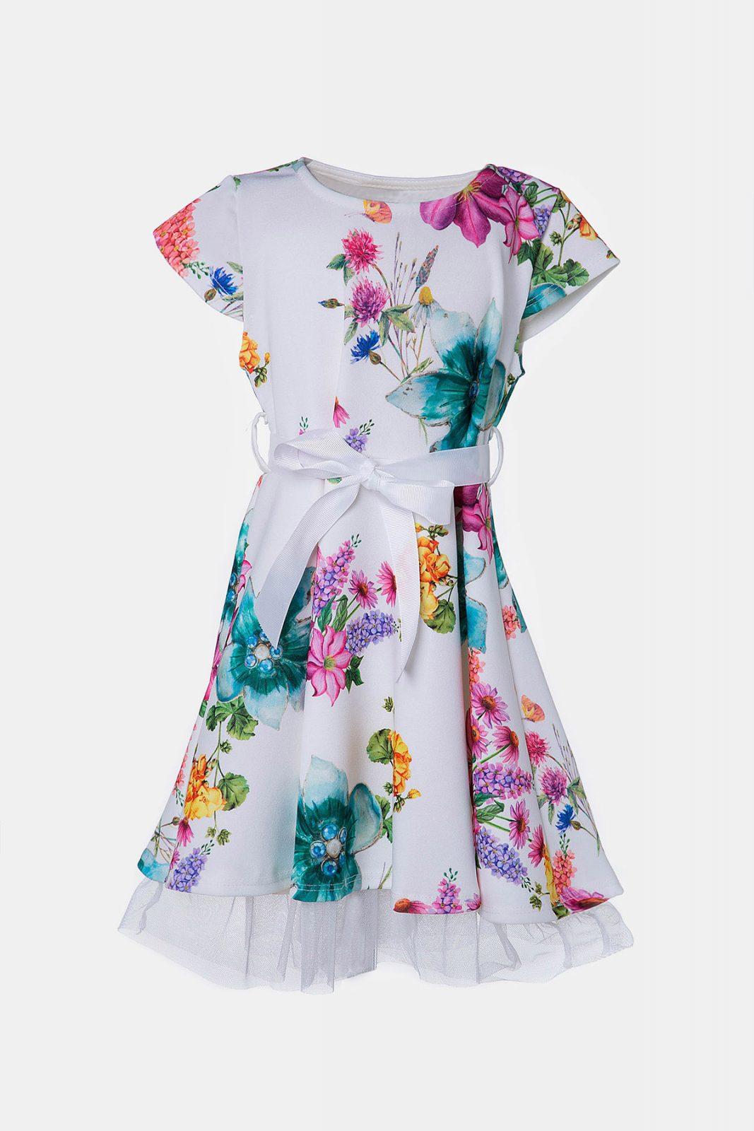 36a45ecc387 Φλοράλ φόρεμα για κορίτσια με πολύχρωμα λουλούδια και λευκή ζώνη