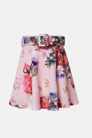 φλοράλ φούστα κλός με ζώνη