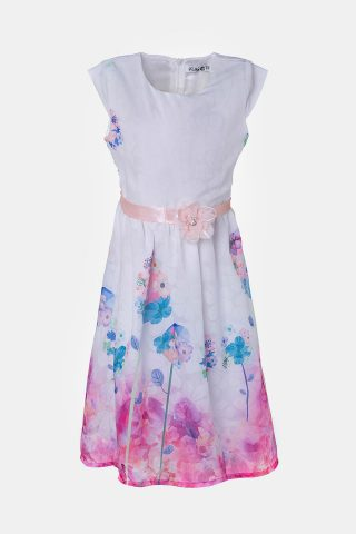 Φλοράλ παιδικό φόρεμα με ζωνη και λουλούδια