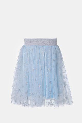 Φούστα παιδική σε σιέλ χρώμα με λάστιχο