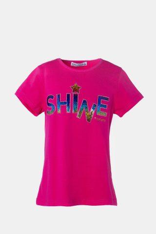 φούξια παιδική μπλούζα με τύπωμα shine