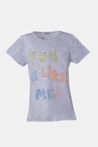 Γκρι μπλούζα με στράς και πολύχρωμα τύπωμα