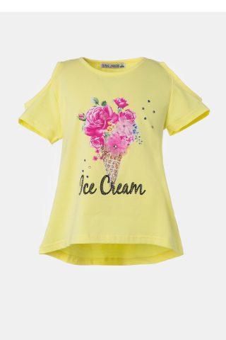 Κίτρινη παιδική μπλούζα με τύπωμα παγωτό