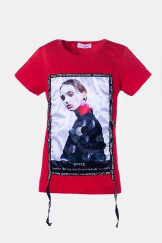 Κόκκινη μπλούζα για κορίτσια με τύπωμα