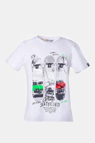 Λευκή μπλούζα για αγόρια με στάμπα που αλλάζει χρώμα