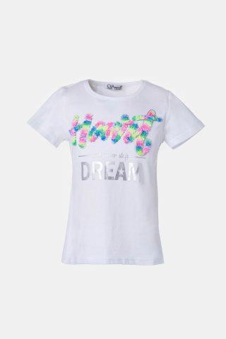 Λευκή μπλούζα για κορίτσια με πολύχρωμο τύπωμα