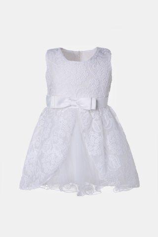 Λευκό βρεφικό φόρεμα με φιόγκο στη μέση και ανάγλυφα λουλούδια