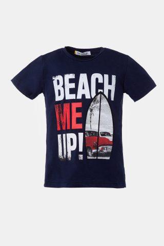 μπλε παιδική μπλούζα με στάμπα beach