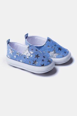 Μπλε παπούτσια αγκαλιάς με χρυσά αστεράκια