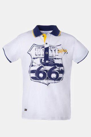 Μπλούζα για Αγόρια με τύπωμα route 66 και μπλε γιακά