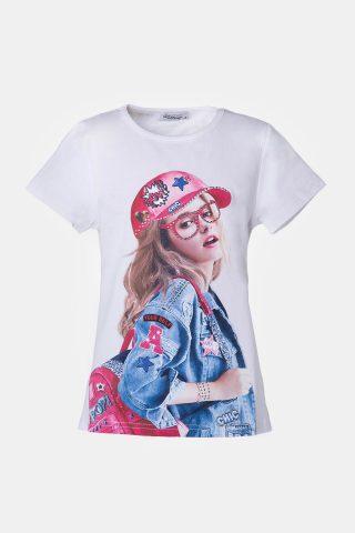 Μπλούζα με κορίτσι στο μπροστά μέρος και στρας