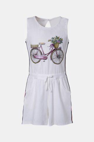 Ολόσωμη φόρμα για κορίτσια με τύπωμα ποδήλατο