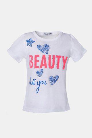 Παιδική λευκή μπλούζα με τύπωμα beauty για κορίτσια