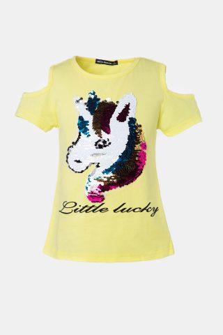 Παιδική μπλούζα μονόκερος σε κίτρινο χρώμα
