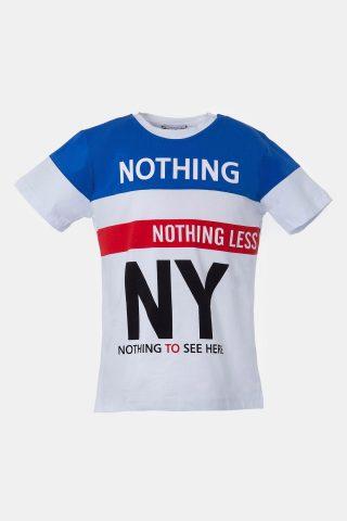 Παιδική μπλούζα τρίχρωμη με επιγραφή NY