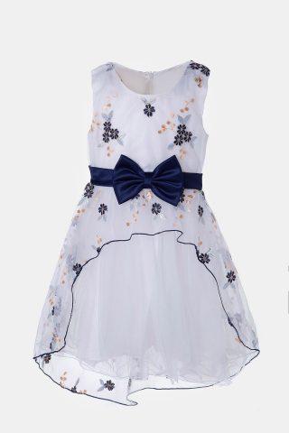 Παιδικό φόρεμα εμπριμέ με μπλε φιόγκο και λουλούδια